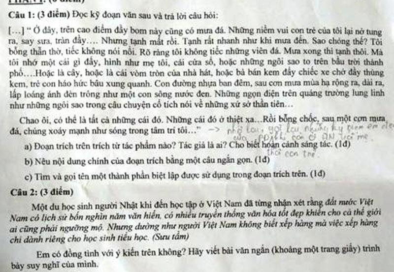 'DHS Nhật nhận xét người Việt không biết xếp hàng' vào đề thi trò lớp 9