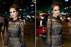 Ca sĩ Hồng Nhung đeo mi giả, mặc váy ren xuyên thấu