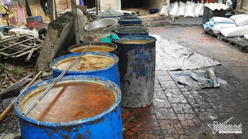 mỡ bẩn, sản xuất mở bẩn, mỡ lợn thối, lò chế mỡ lợn thối, xã Tân Quang, Văn Lâm, Hưng Yên