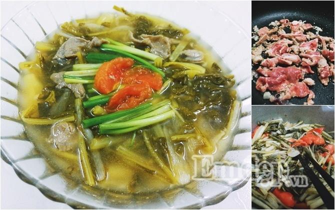 Canh dưa chua nấu thịt bò, món ngon, cơm nhà, canh dưa chua