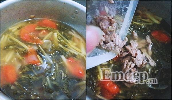 Canh dưa chua nấu thịt bò ngon miệng cho ngày chán cơm