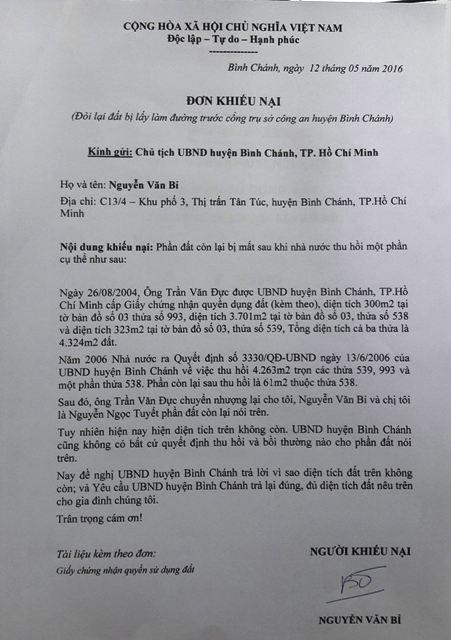 Chủ đất quán Xin chào 'kiện' đòi đất công an Bình Chánh