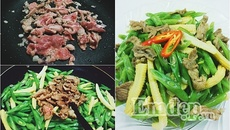 Thịt bò xào đậu que và bắp non ngọt mát cho bữa cơm ngày hè