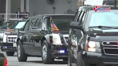 Đoàn xe rời khách sạn lên Phủ Chủ tịch