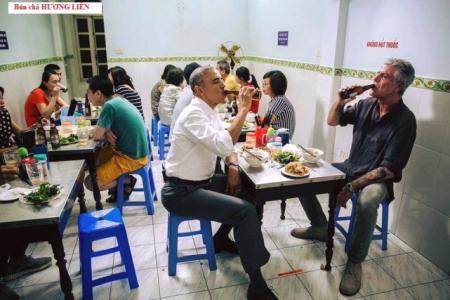 Obama ăn bún chả, Obama đến Việt Nam, Barack Obama, bún chả Hương Liên, Anthony Bourdain