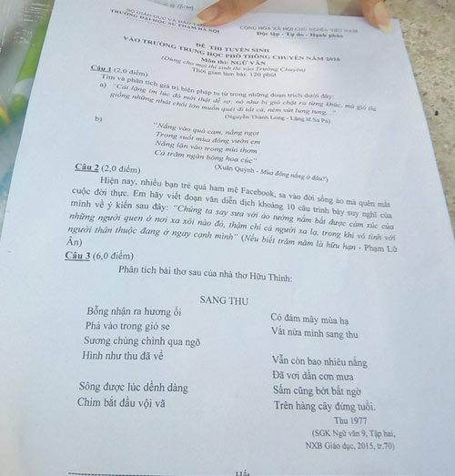 Facebook, đề thi vào lớp 10, bạn trẻ mê Facebook, đề thi môn Văn, THPT chuyên ĐH Sư phạm Hà Nội