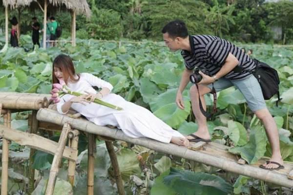 Thiếu nữ Hà thành 'lăn lê bò toài' chụp ảnh cùng sen
