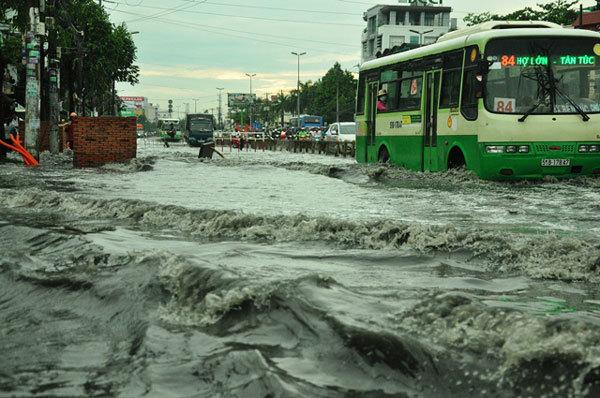 Cây xanh bật gốc đè 3 ôtô trong mưa lớn ở Sài Gòn