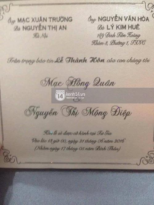 Thiệp cưới của Mạc Hồng Quân, Kỳ Hân bất ngờ bị lộ