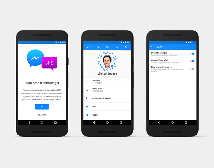 Facebook, tin nhắn SMS, Messenger