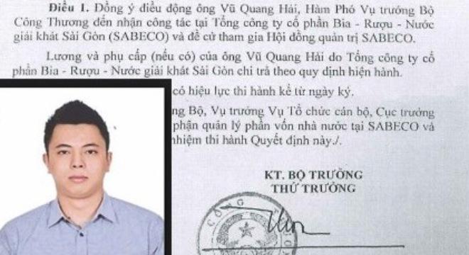 Vafi đáp lời nguyên Bộ trưởng Vũ Huy Hoàng về bổ nhiệm con trai