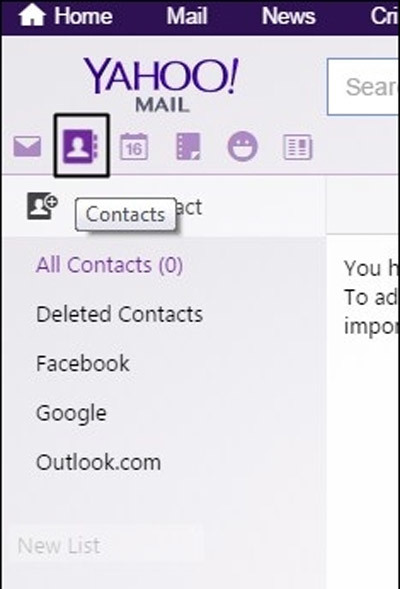 email, Facebook, Yahoo
