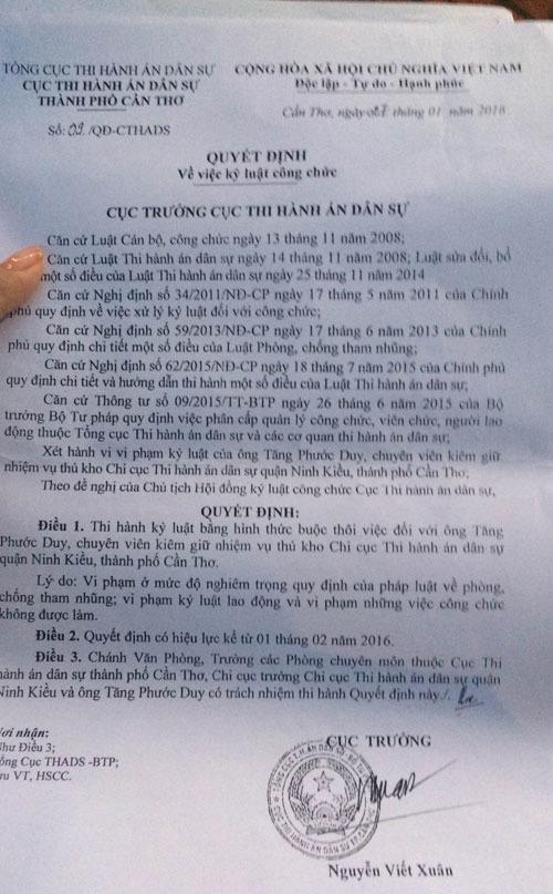 Cần Thơ: Bắt cán bộ Chi cục thi hành án tham ô tiền tang vật