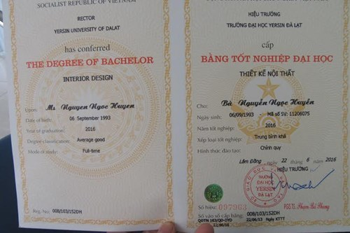 bằng tốt nghiệp, thông tin lạ, Trường Đại học Yersin Đà Lạt