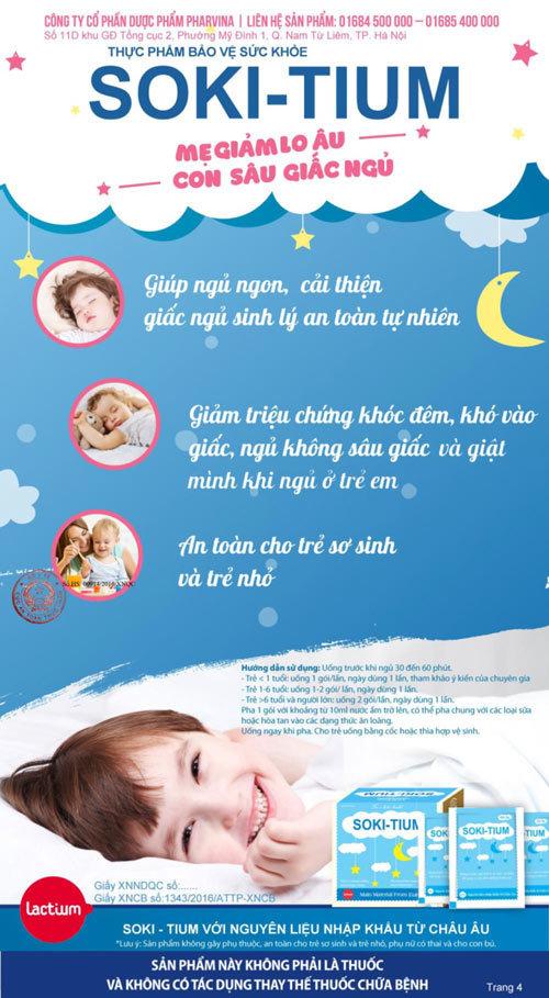 SOKI TIUM bí quyết khắc phục chứng khó ngủ ở trẻ