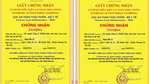 Coca-Cola VN đã được cấp đủ giấy chứng nhận