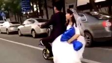 Cô dâu ngã tuột xuống đường, chú rể bỏ mặc