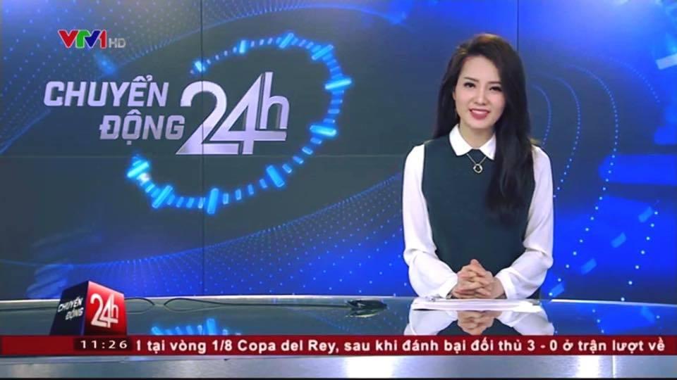 Thời trang gợi cảm của Á hậu làm MC Chuyển động 24h