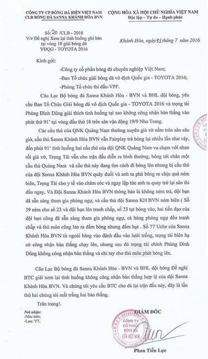 bàn thắng bẩn, trọng tài bị chỉ trích, bàn thắng bị cướp, S.Khánh Hoà, trọng tài Phùng Đình Dũng, Trưởng Ban trọng tài Nguyễn Văn Mùi, V-League 2016, VPF, VFF