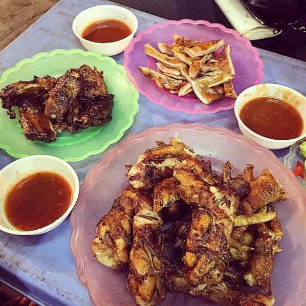 món nướng, Hà Nội, chim nướng Tạ Hiện, thịt xiên nướng, cánh gà nướng mật ong