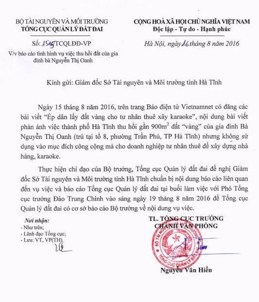 Bộ TN&MT, ép dân lấy đất vàng, Bộ trưởng TN&MT Trần Hồng Hà, Hà Tĩnh