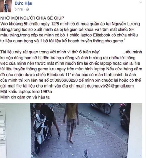 Lệ Rơi đăng tìm xe Honda SH bị trộm bởi cô gái bẻ khóa chỉ vài giây 3