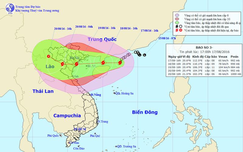 Bão số 3 giật cấp 14 hướng vào Quảng Ninh - Nghệ An