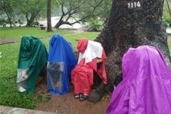 Bức xúc cảnh giới trẻ mặc áo mưa bắt Pokemon giữa trời mưa bão