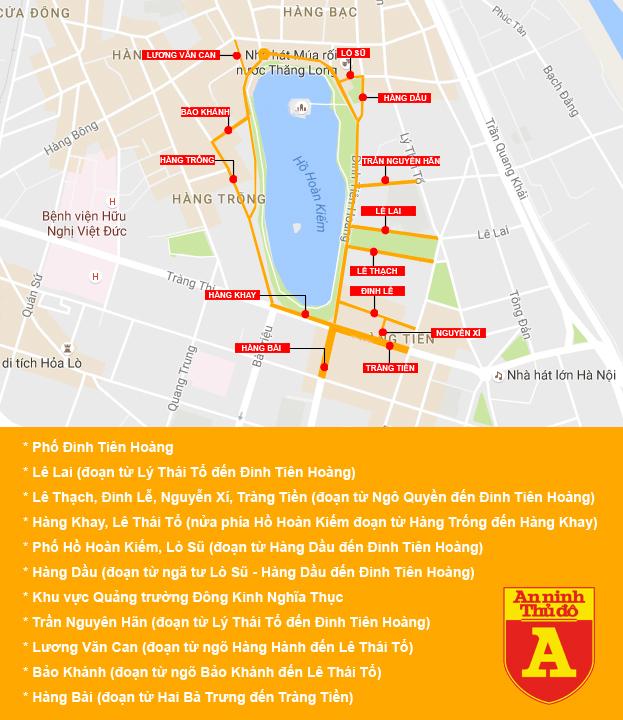 Phân luồng giao thông khi hồ Gươm thành phố đi bộ