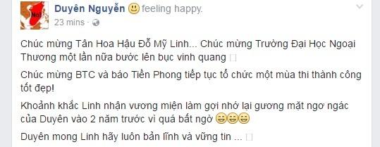 Hoa hậu Việt Nam, Kỳ Duyên, Mỹ Linh, động viên, scandal