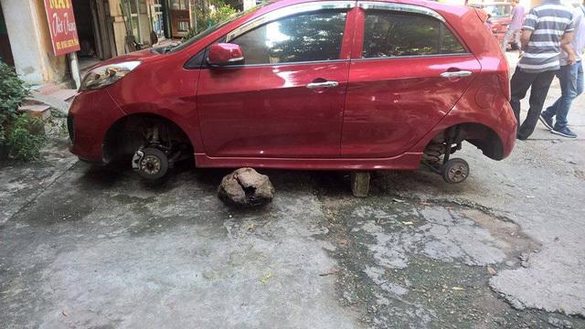 Tháng cô hồn, Kia Morning, ăn trộm, bánh xe, trộm xe, ô tô, chống trộm, trộm đồ