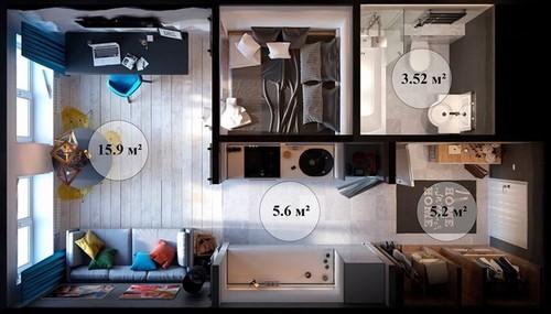 20160831144820 can ho12 Ngắm nhìn bên trong căn hộ hơn 30m2 với thiết kế siêu thông minh