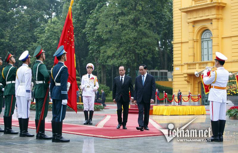 Hình ảnh lễ đón Tổng thống Pháp tại Phủ Chủ tịch