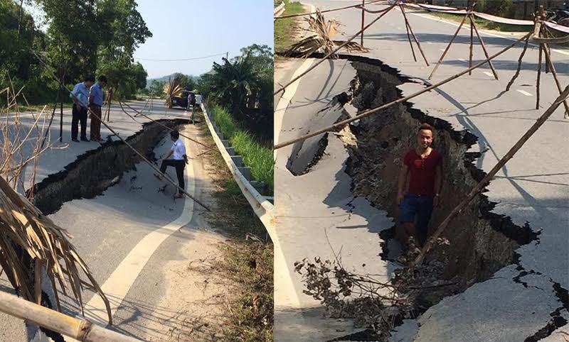 đường nứt, đường sụt lún, quốc lộ 32C