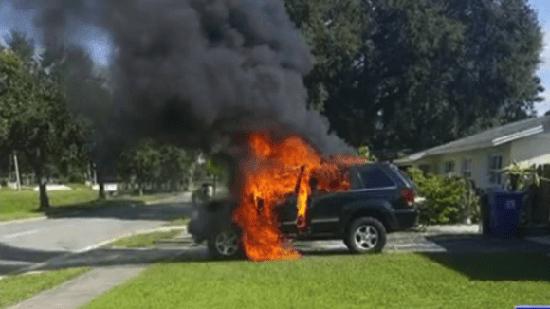 Galaxy Note 7 lại nổ thiêu rụi xe Jeep