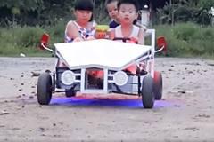 Ông bố Thanh Hoá tự chế ôtô điện cho con trai