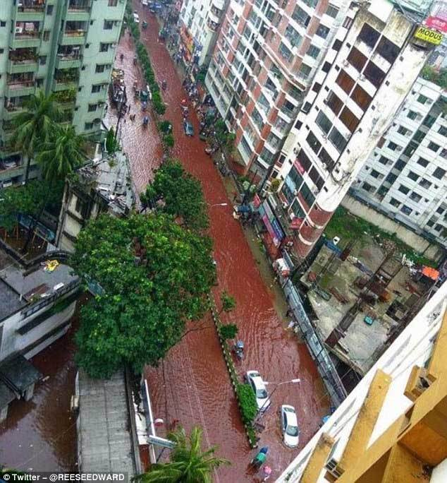 Đường phố bỗng biến thành dòng sông máu