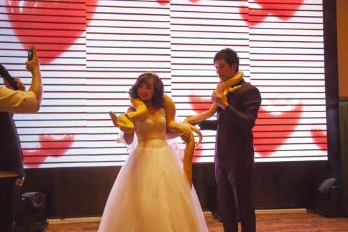 Cô dâu, chú rể tặng nhau trăn vàng trong đám cưới