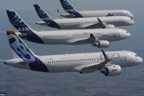 Xem máy bay Airbus dàn hàng ngang trên trời