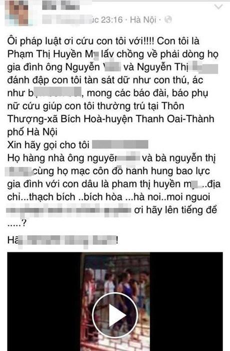 Con gái bị nhà chồng đánh, cha lên facebook kêu cứu