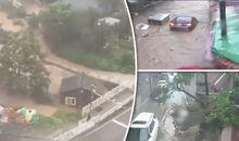 Siêu bão tàn phá Hàn Quốc, xe hơi, nhà cửa trôi thành dòng