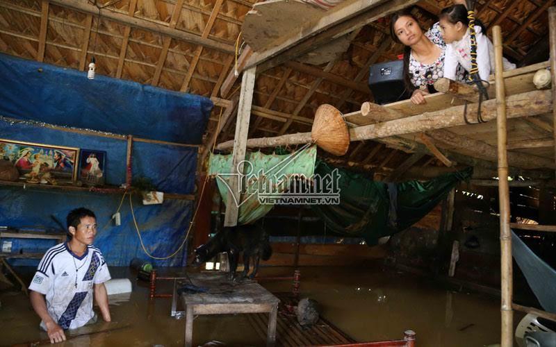 Cả làng ngập sạch, may còn trần nhà để trốn lên