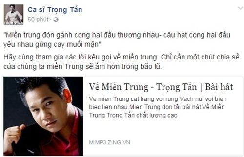 Thanh Lam, Đàm Vĩnh Hưng, Trọng Tấn, Tùng Dương, Phương Thanh, ủng hộ người dân miền Trung