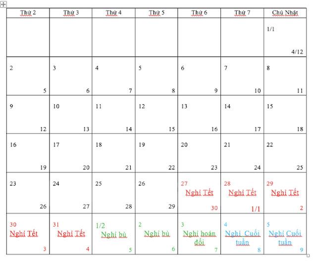 Nghỉ Tết Nguyên đán Đinh Dậu 2017 trong 7 ngày