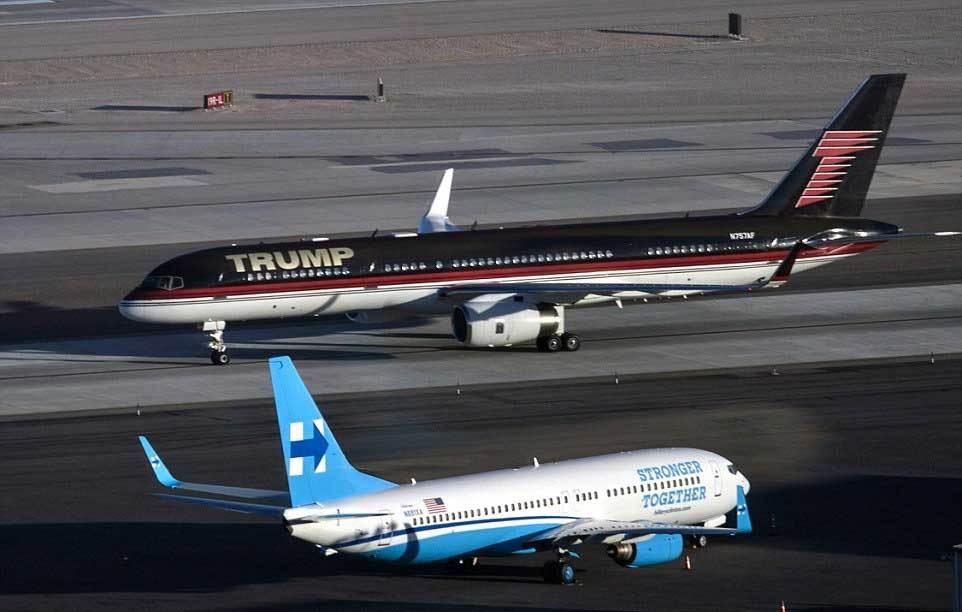Đọ độ khủng máy bay của Trump và Hillary