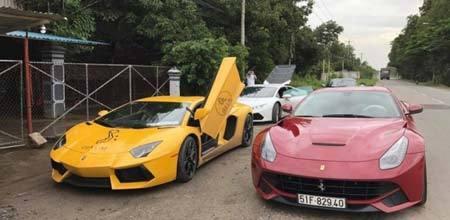 Dàn xe trăm tỷ, Cường Đô la, cao tốc Long Thành, siêu ngựa Ferrari 488GTB, dẫn đầu đoàn siêu xe, hành trình siêu xe, xe sang