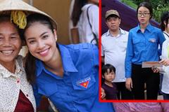 Cùng mặc áo xanh tình nguyện như Phạm Hương, nhưng trông HH Mỹ Linh lại như thế này
