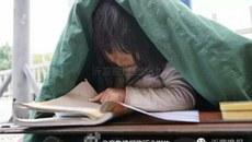 Xúc động với hình ảnh bé gái 6 tuổi vừa ăn xin vừa học bài