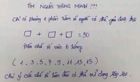Bài toán tìm người thông minh khiến thầy cô bối rối