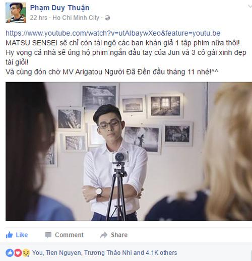 Jun Phạm tiếc nuối chia tay webdrama 'Cảm ơn Sensei'